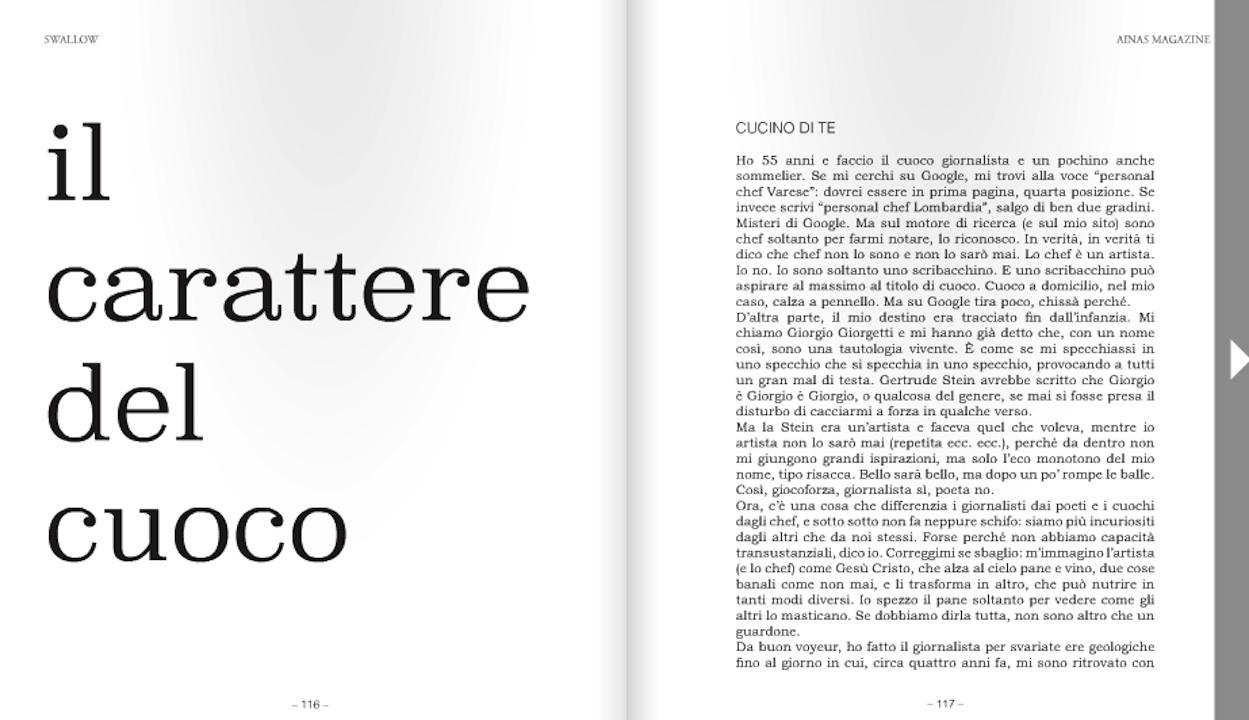 Ainas - Giorgio Giorgetti, personal chef, giornalista e sommelier, ospite della rivista d'arte di B&Bart