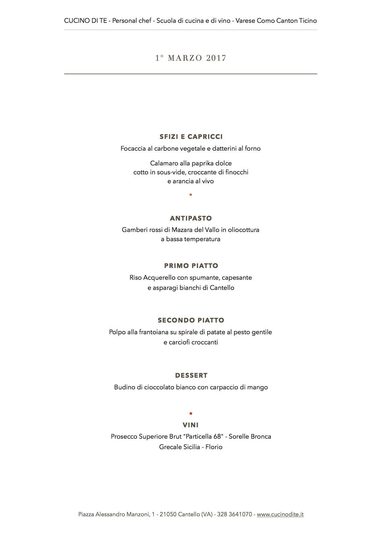 cucino di te - menù del 1° marzo 2017