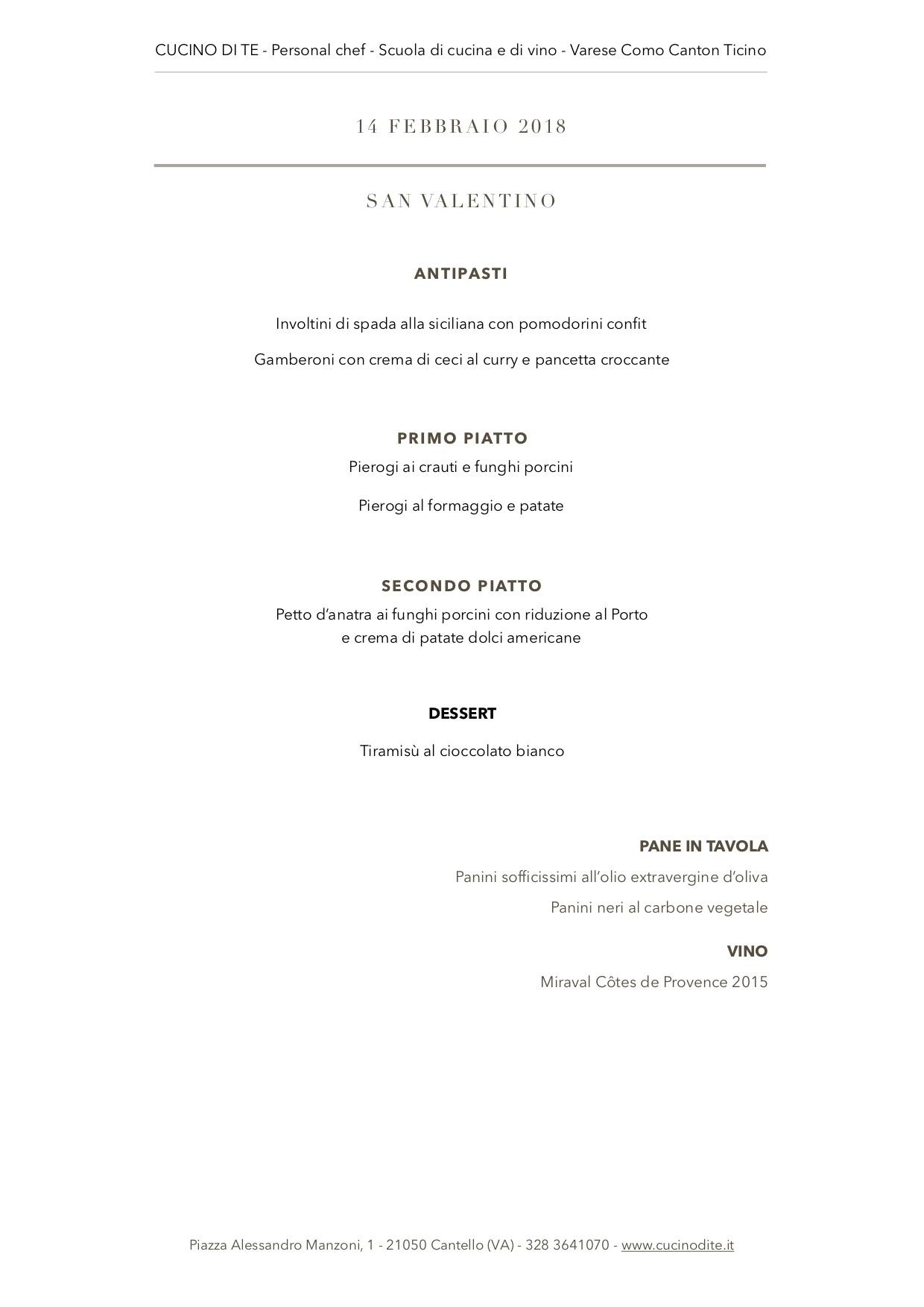 cucino di te - menù del 14 febbraio 2018