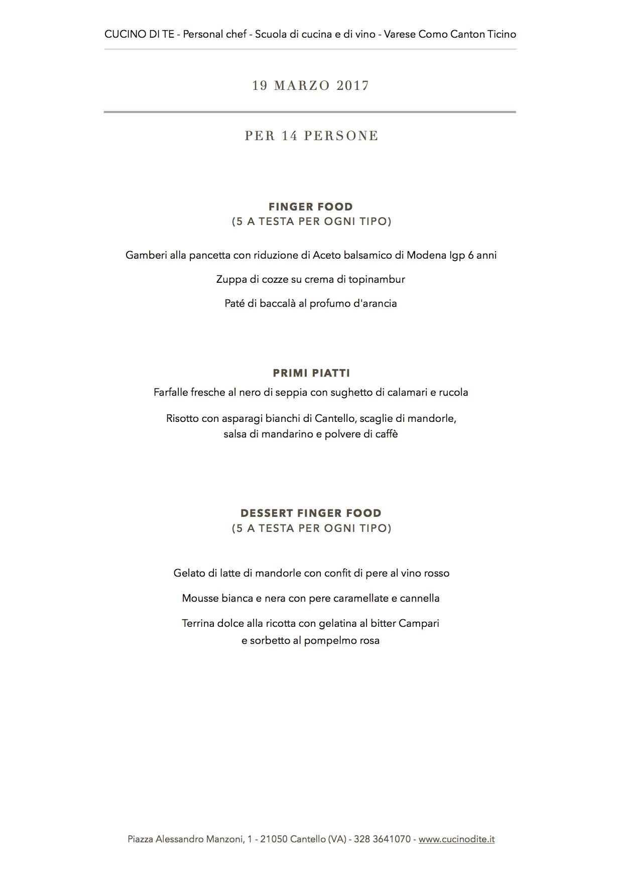 cucino di te - menù del 19 marzo 2017