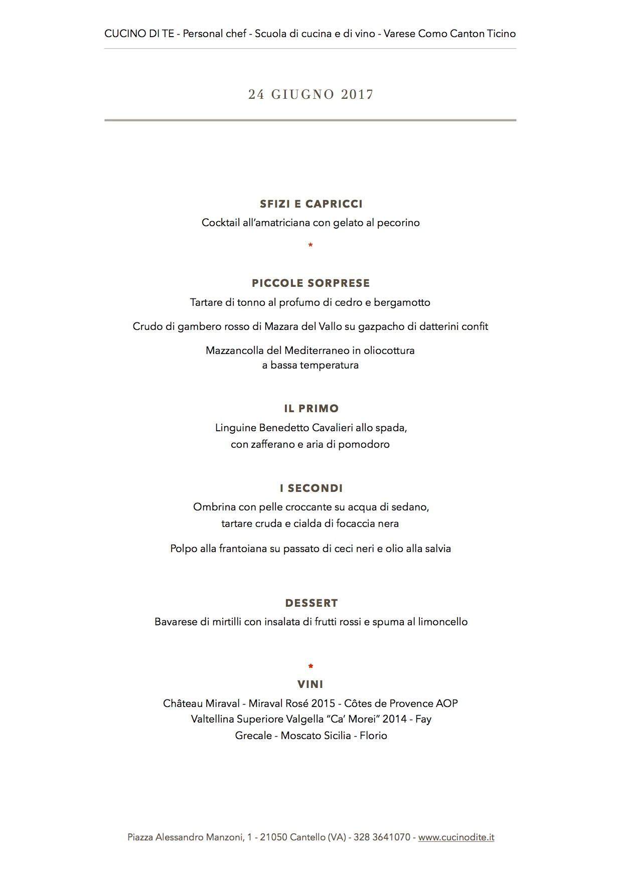 cucino di te - menù del 24 giugno 2017