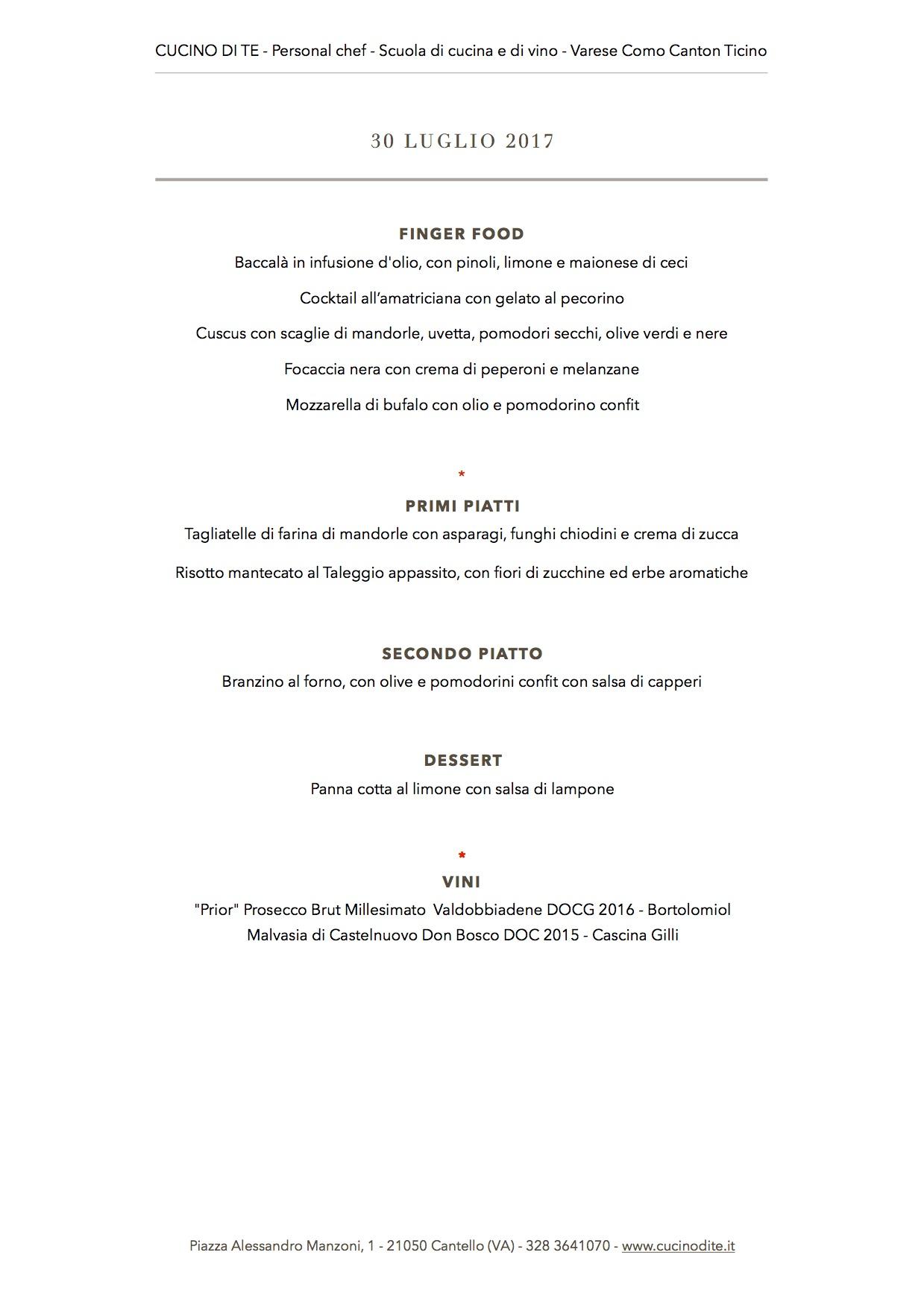 cucino di te - menù del 30 luglio 2017