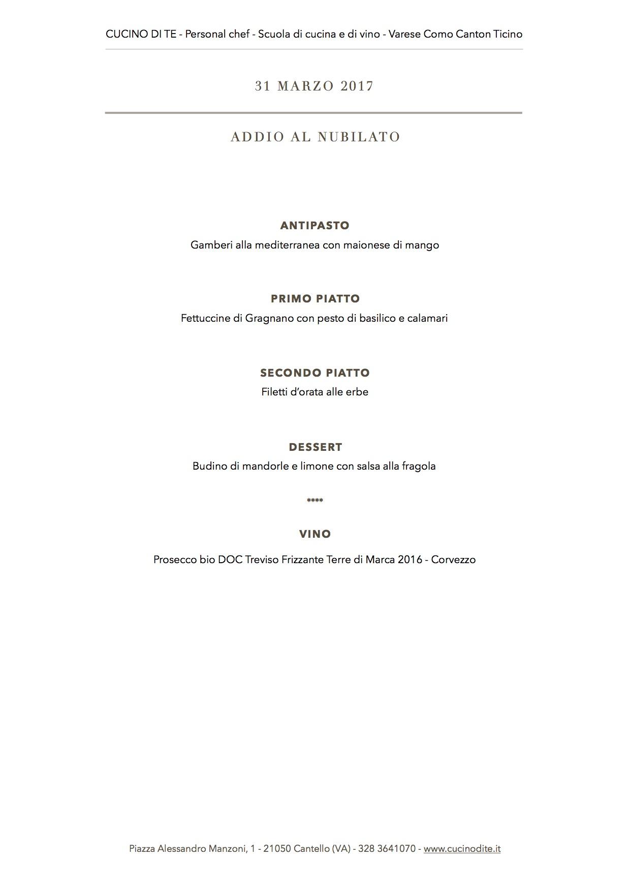 cucino di te - menù del 31 marzo 2017