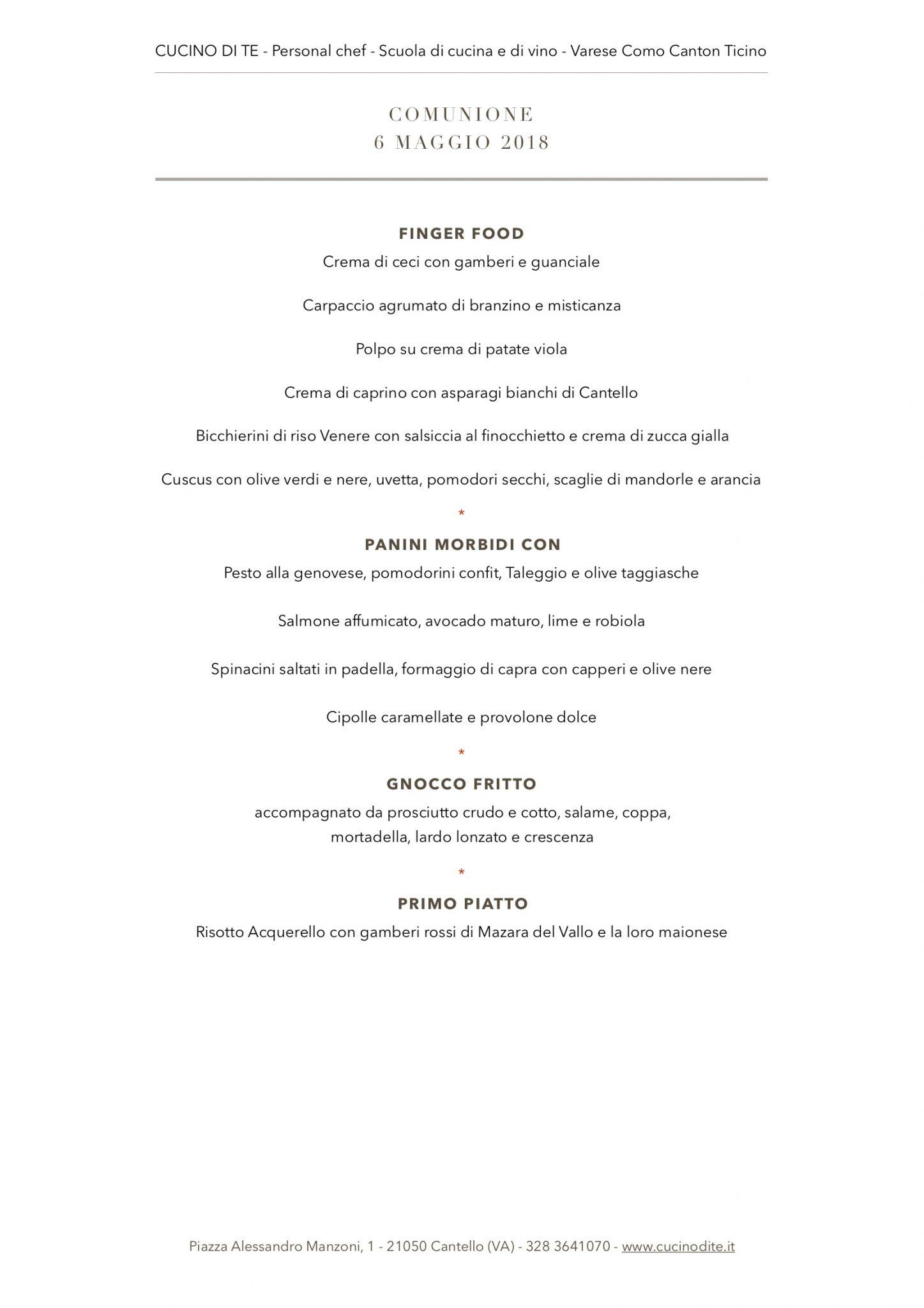 cucino di te - menù del 6 maggio 2018