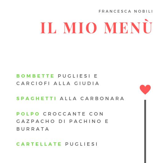 Il menù di Francesca Nobili per Cucino di Te