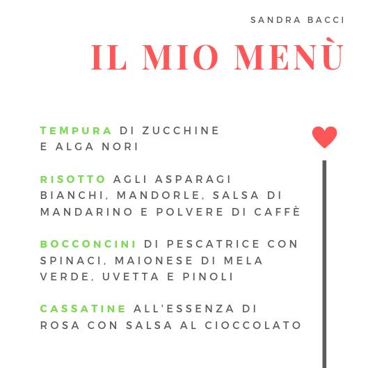 Il menù di Sandra Bacci per Cucino di Te