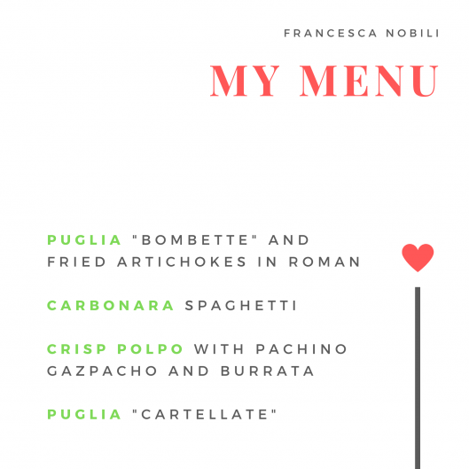 Francesca Nobili's menu for Cucino di Te
