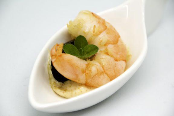 Finger food di mazzancolla, maionese alla bottarga e zucchina al forno - Cucino di Te, chef a domicilio Varese
